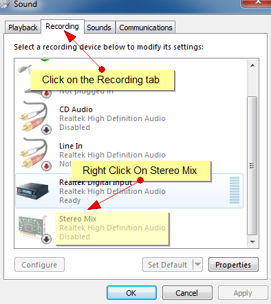 mixage stereo realtek high définition audio