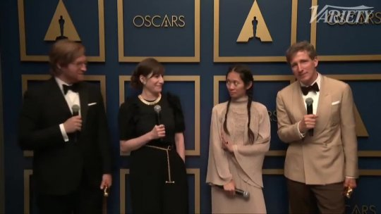 Chloe Zhao and the 'Nomadland' Team Celebrate Best Picture Win